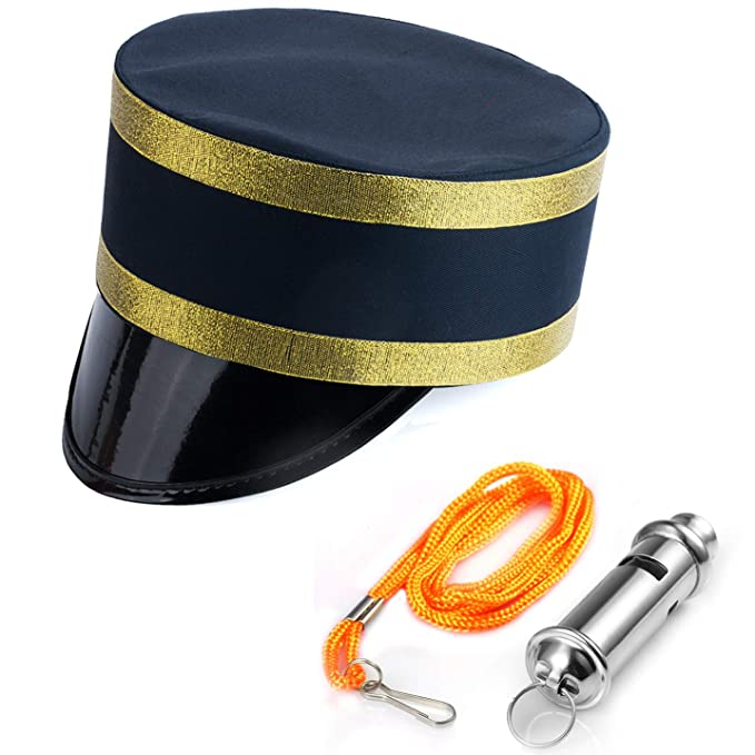 Costume Hats for Adults Train Engineer Hat and Whistle Railroad Party Tigerdoe Conductor Costume 2 Pc Black