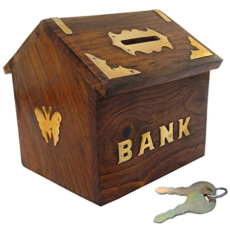 VISHAL INDIA CRAFT Mart Handicraft Wooden Piggy Bank for Kids and Adults (Brown) Coin Banks at amazon