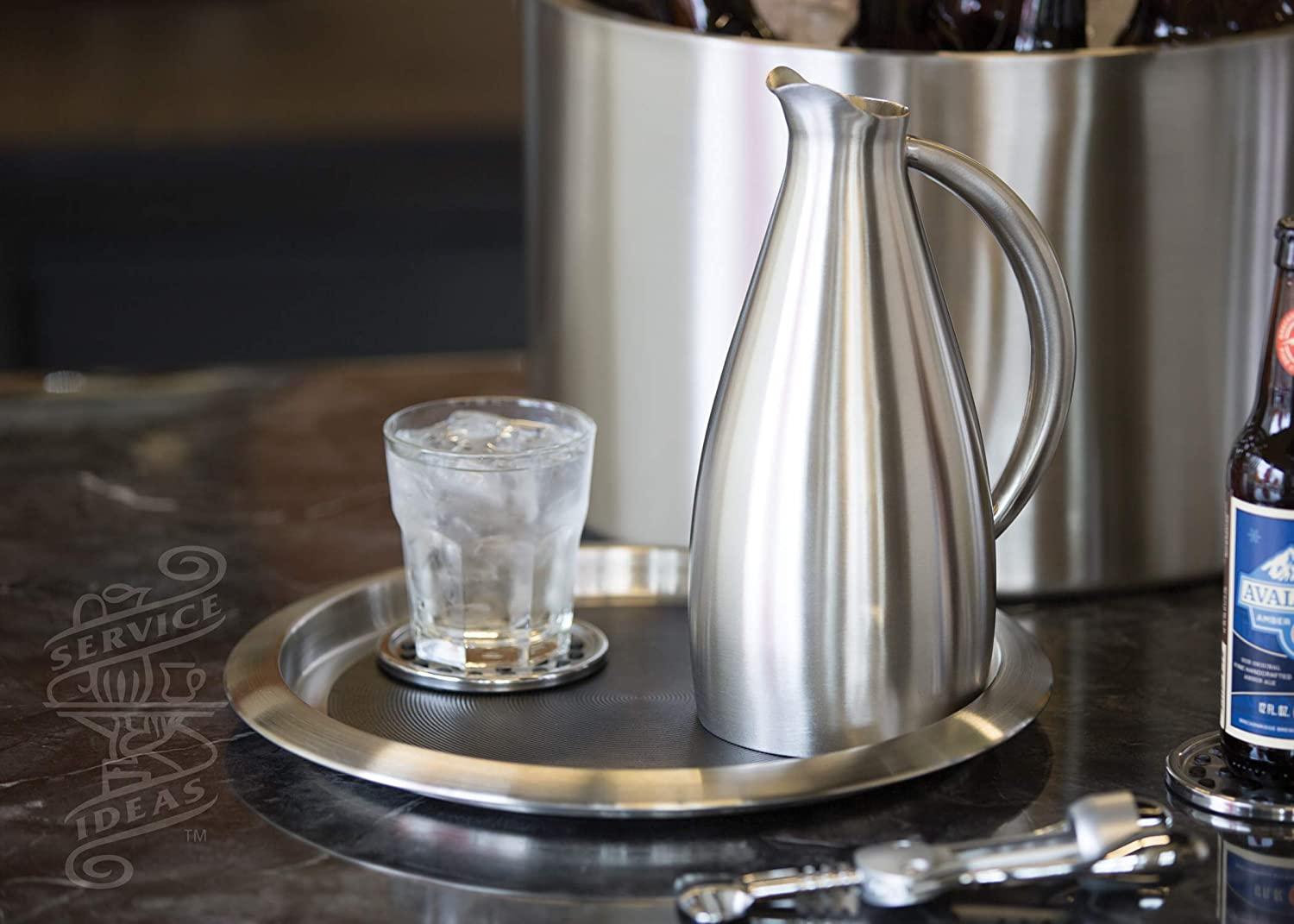 Brushed Stainless//Black Insert Service Ideas TR1412SR 14 Non-Slip Round Tray