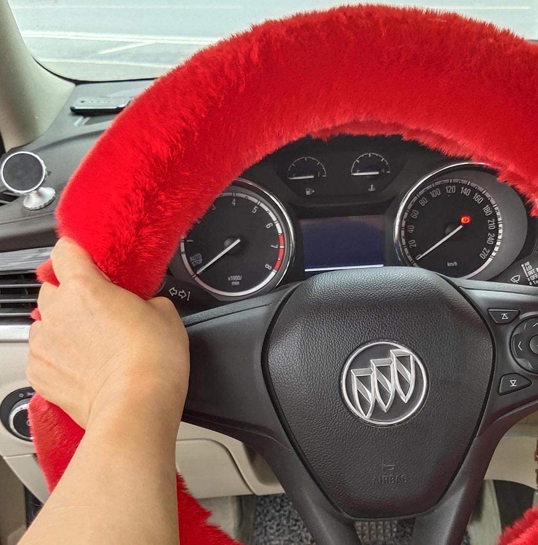 3pcs Set Winter Warm Fluffy Furry Fuzzy Plush Soft Fur car Steering Wheel Covers,Universal Thickening Faux Rabbit Fur Steering Covers/&Gear Shift Cover and/& Brake Cover red