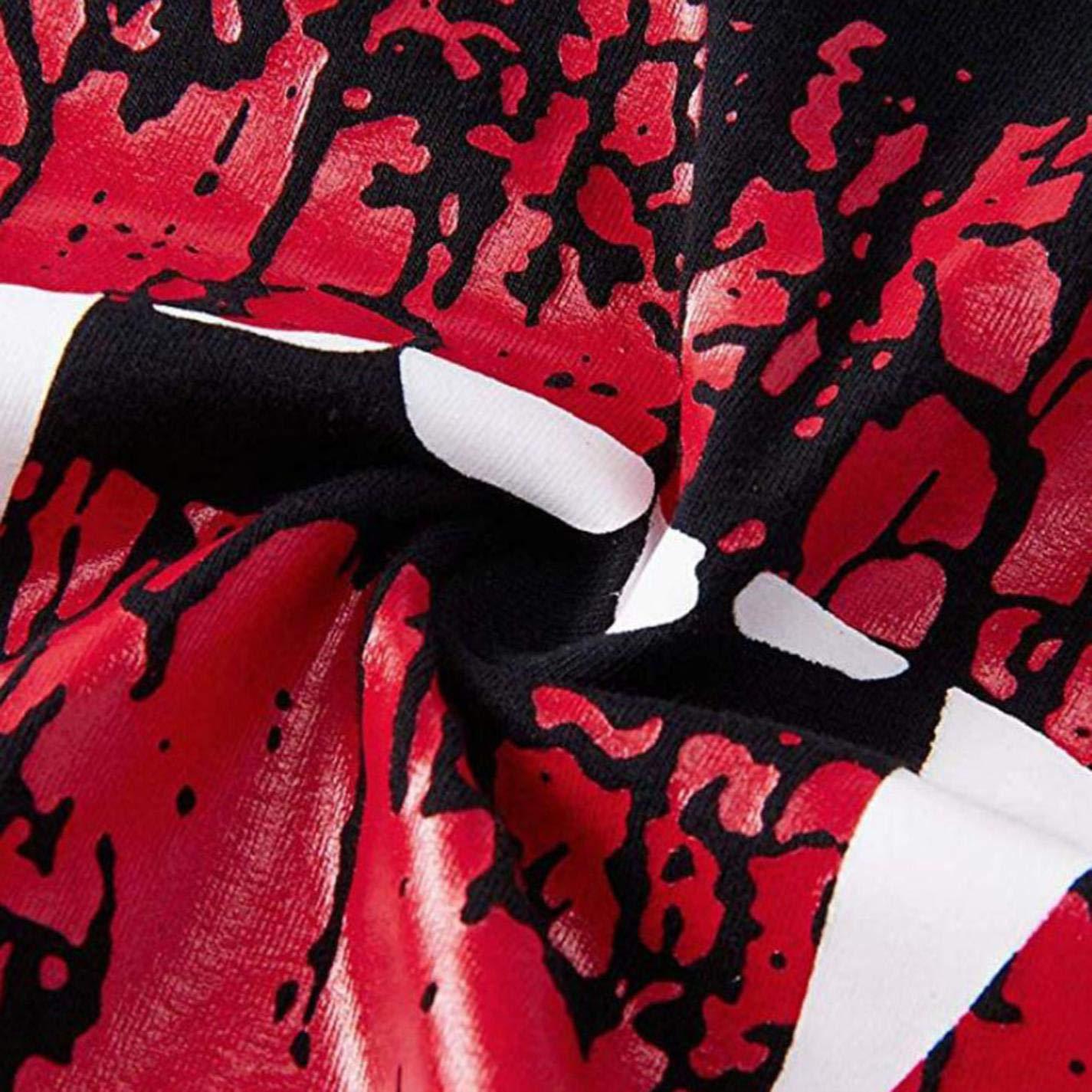 Women Fashion Halloween Printing Sweatshirt Red Lips Oblique Collar