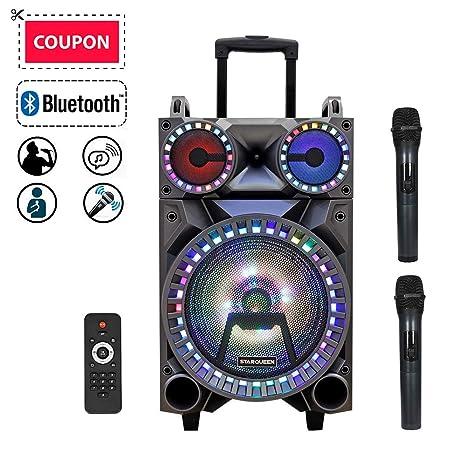 Starqueen - Altavoz portátil recargable con Bluetooth, sistema PA