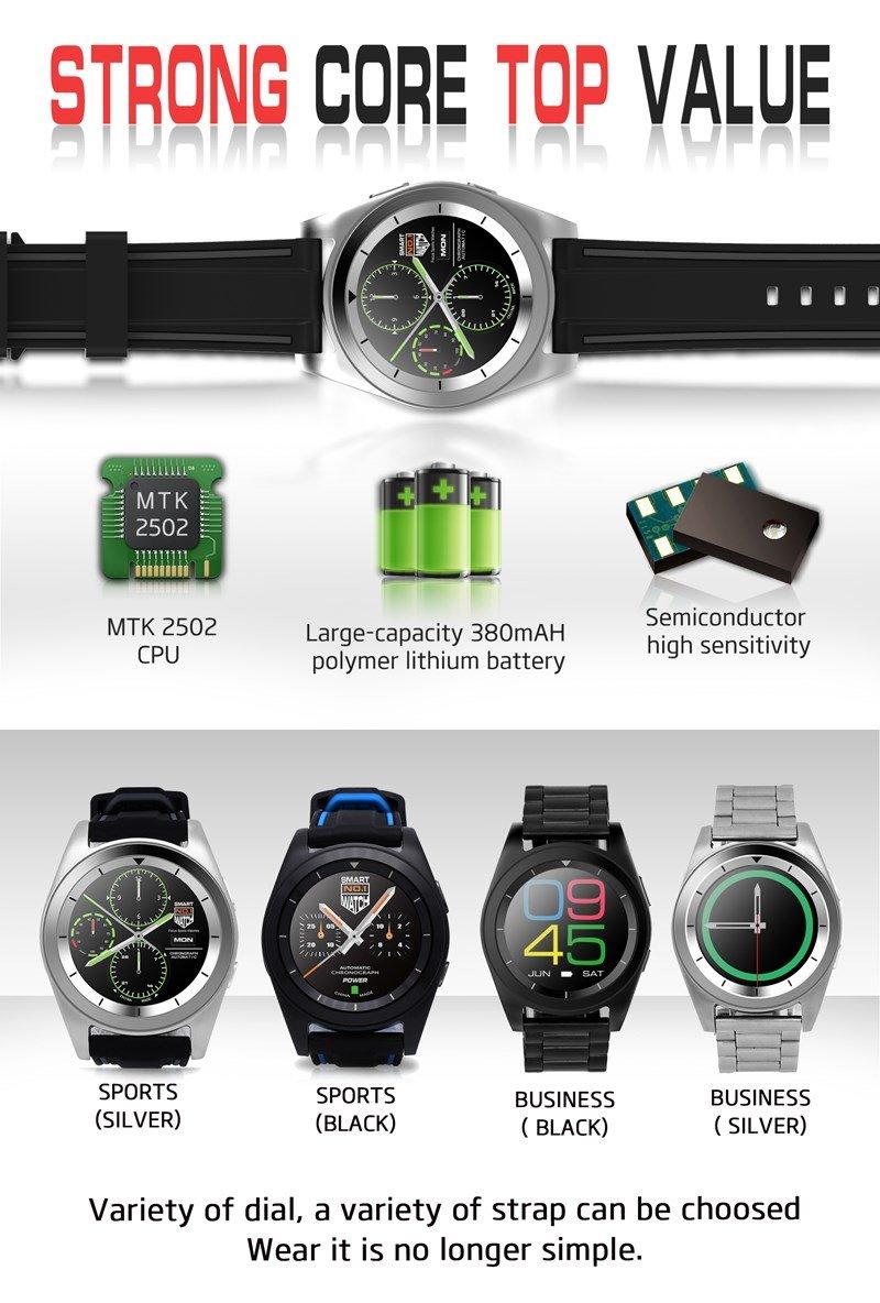 Reloj inteligente Bluetooth núm.1 G6 con monitor de ritmo cardíaco, podómetro. Reloj inteligente para iOS iPhone, Android