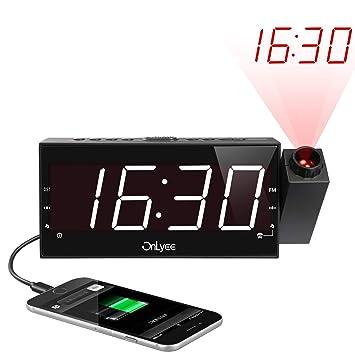 Digital Radio Despertador con Proyector, FM Radio Reloj Despertadores, Pantalla LED de 7