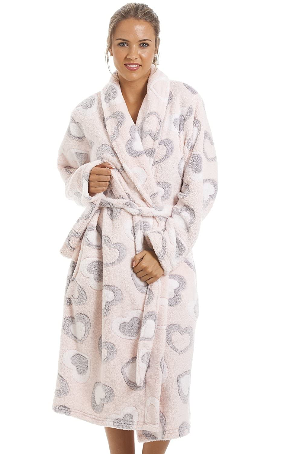 Camille Womens Ladies Grey And White Heart Print Supersoft Fleece Light Pink Bathrobe