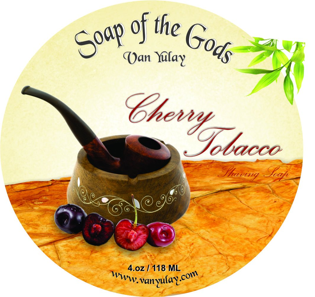 Shaving Soap of the Gods Cherry Tobacco 4.oz - All Natural Shaving Soap For Men and Women. Van Yulay