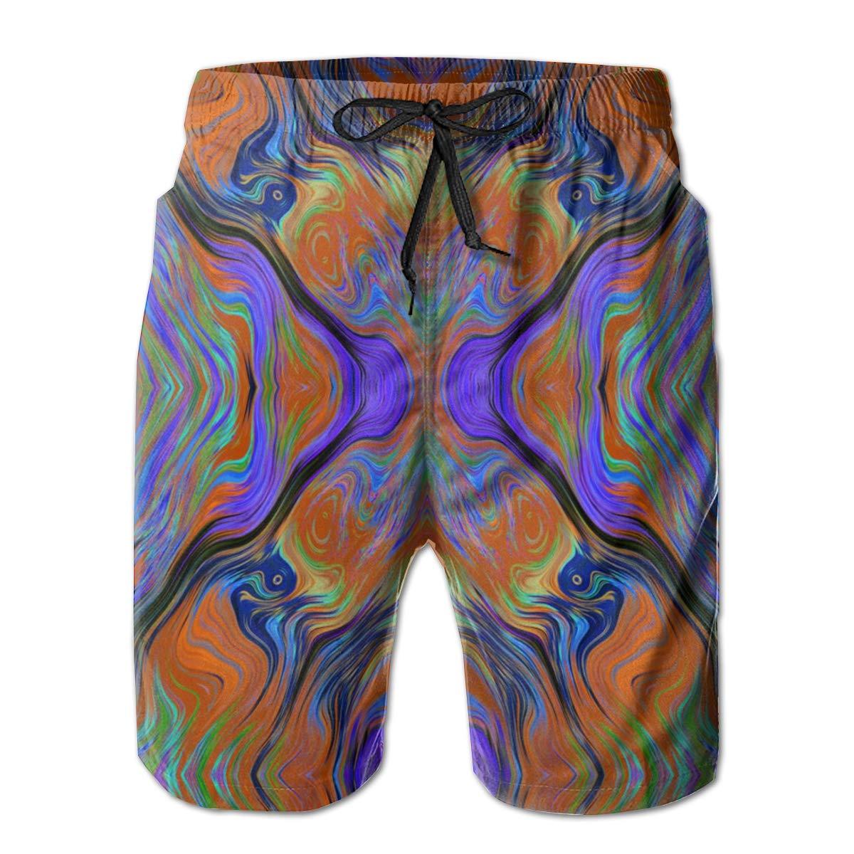 Jiqnajn6 Lava LAMP Purple Orange Burnt Fusion Mens Swim Trunks Quick Dry Summer Surf Beach Board Shorts with Mesh Lining//Side Pockets