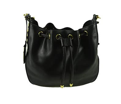 0350bbcd1bb Image Unavailable. Image not available for. Color  Ralph Lauren Women s  Huttington Leather Drawstring Crossbody Bucket Bag, Black