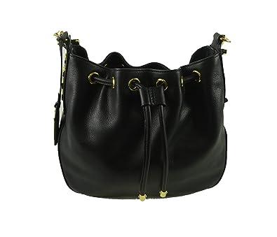 4cb107c2893a ... shop ralph lauren womens huttington leather drawstring crossbody bucket  bag black 3939a 20870