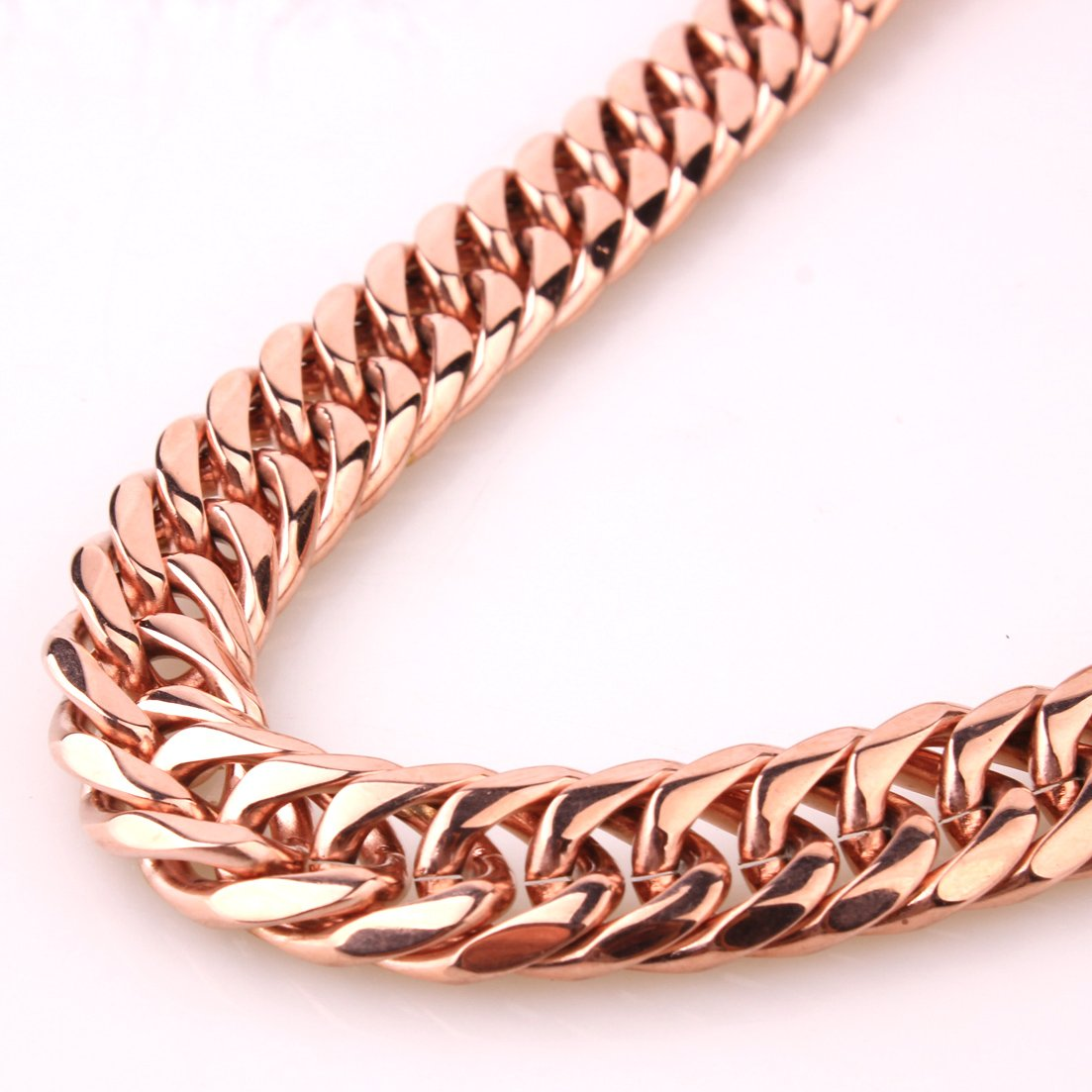 Fashion Women Mens Jewelry Rose Gold Tone Stainless Steel Curb Cuban Link Chain Necklace 13mm