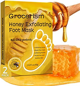 2 Packs Foot Peel Mask With Honey, Exfoliating Foot Mask for Men & Women, Effective for Cracked Heels Repair, Removing Dead Skin and Callus & Dry Toe Skin, Size 10.5