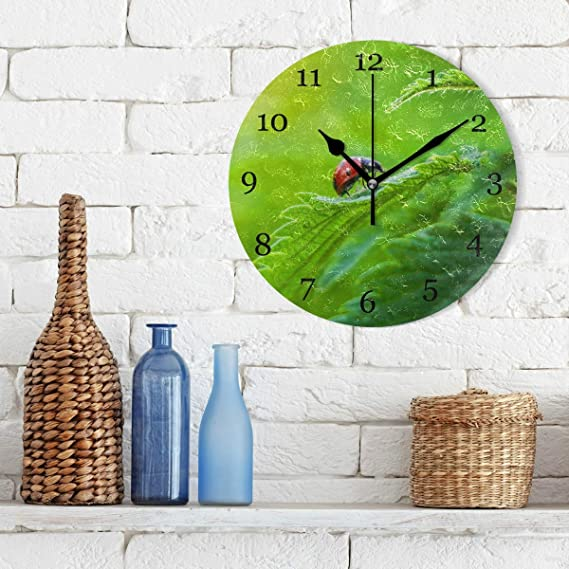 Amazon.com: KUWT Tropical Leaves Ladybug Wall Clock Silent Non-Ticking 9.5 Inch Round Clock Acrylic Art Painting Home Office School Decor: Home & Kitchen