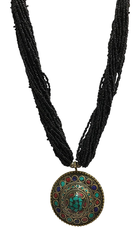 Yoga Trendz Vintage Tibetan Turquoise Lapis Coral Nepali Multi-Strand Handmade Necklace