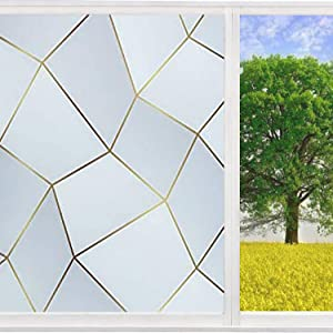 Amposei Window Privacy Film, Decorative Static Cling Frosted Glass Door Film Non-Adhesive 3D Geometric Diamond Pattern Tint Stained Window Sticker Reflective for Home Office Heat Control 17.7x78.7inch