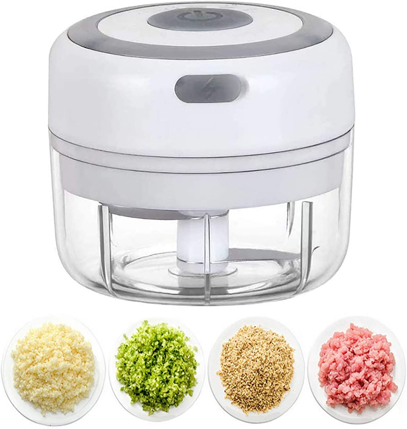 Mini Electric Garlic Chopper, Rechargeable Garlic Mincer Onion Carrot Nuts Chopper Blender Grinder Food Processor Kitchen Tool,100ML