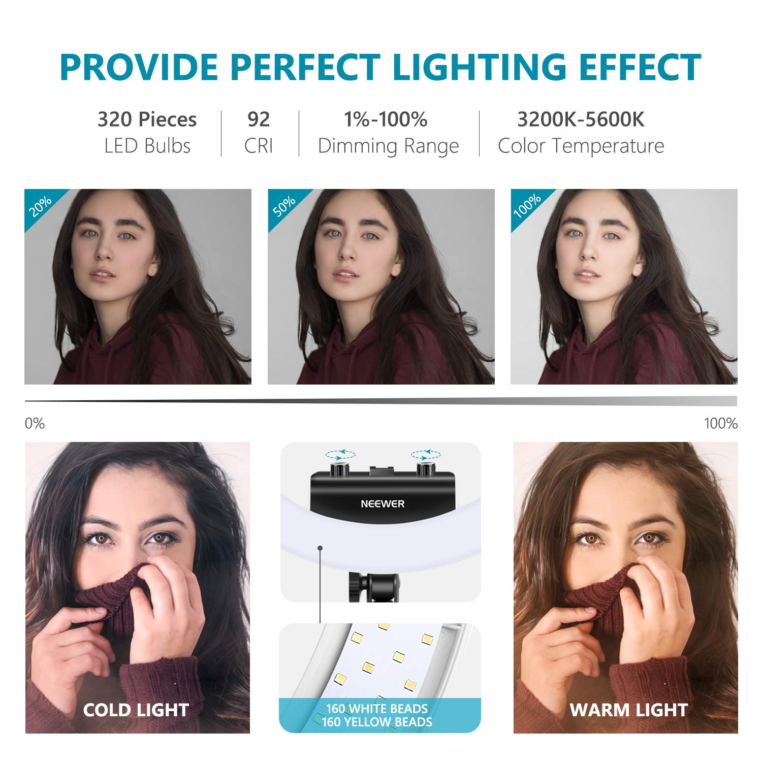 Neewer Ring Light Kit [Upgraded Version-1.8cm Ultra Slim] - 18 inches, 3200-5600K, Dimmable LED Ring Light with Light Stand, Rotatable Phone Holder, Hot Shoe Adapter for Portrait Makeup Video Shooting by Neewer (Image #3)