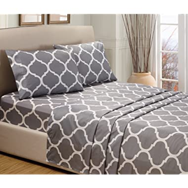 4-Piece QUEEN size, GREY STAR Printed Bed Sheet Set-Super Soft-High Thread Count Double Brushed Microfiber-1500 Series HIGHEST QUALITY & LOWEST PRICE-SALE-Deep Pockets
