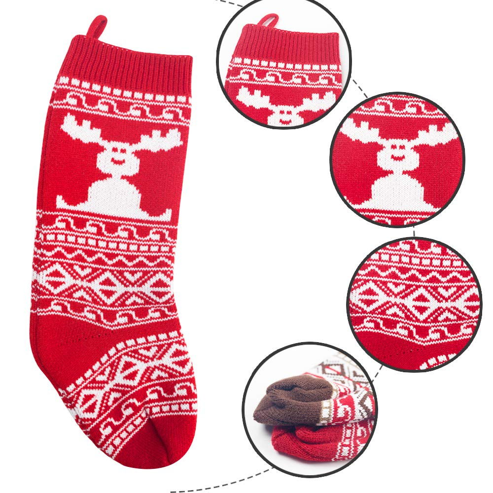 2 Pack,18 inch Knit Christmas Stockings Rustic Personalized Stockings with Reindeer for Family Holiday Season Decor