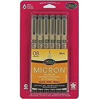 Sakura Pigma Micron Blister Card Ink Pen Set, Black, 08 6CT`