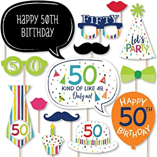 product image for Big Dot of Happiness 50th Birthday - Cheerful Happy Birthday - Colorful Fiftieth Birthday Party Photo Booth Props Kit - 20 Count