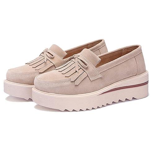 ecbb2bb71cf TRULAND Mocasines con Borlas Confort Plataforma para Mujer en Cuero de  Ante  Amazon.es  Zapatos y complementos
