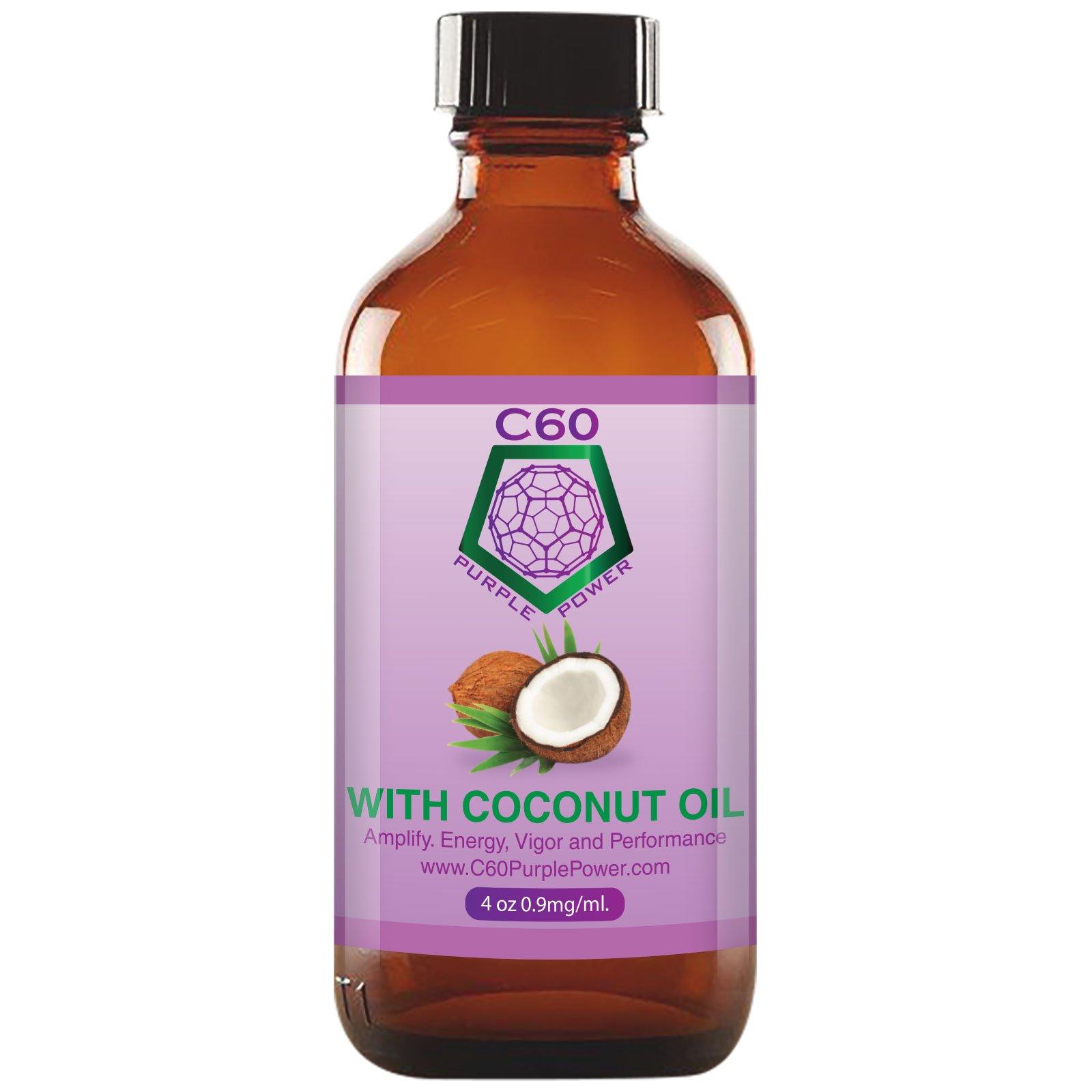C60 Purple Power in COCONUT OIL 4oz - 120 ml, 0.9 mg/ml C60 99.95% Purity