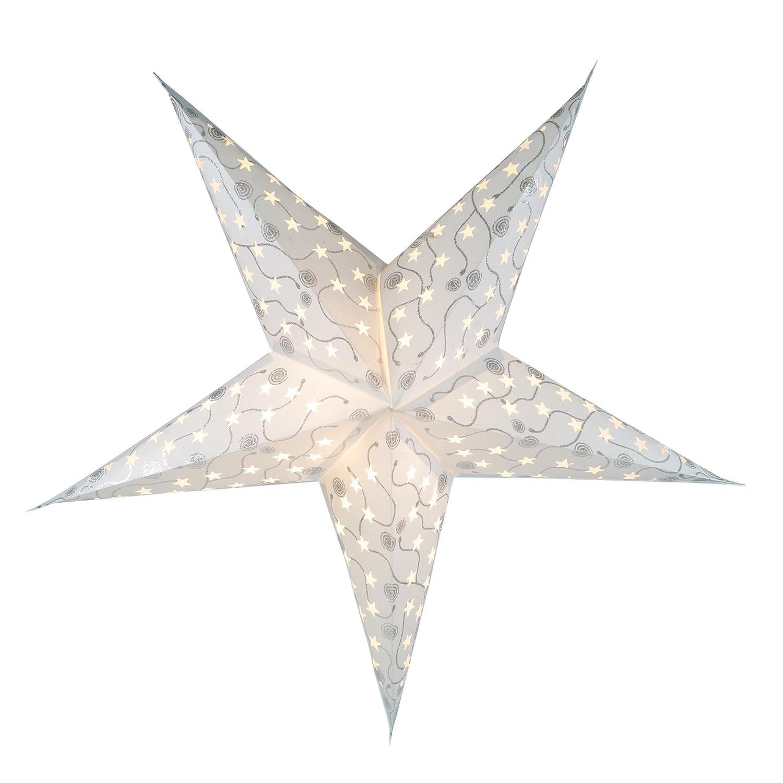 Blanco Monocromo Estrellas de Papel 60x60x20 cm Guru-Shop Estrella de Papel Plegable de Adviento Estrella de la luz de las Estrellas Estrella de Navidad Luna