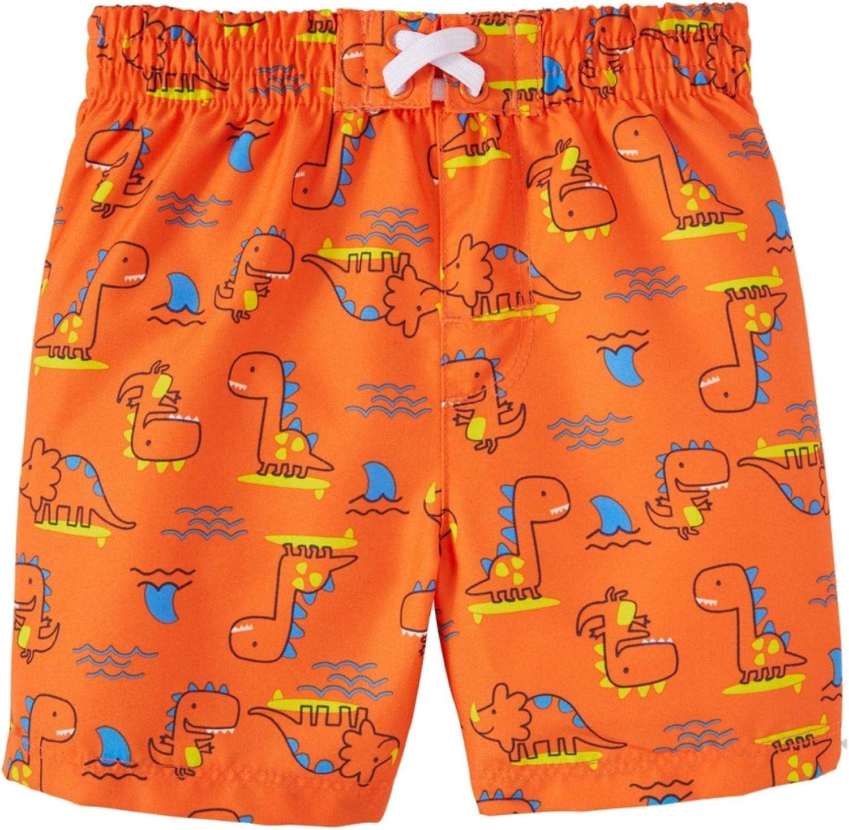 Wonder Nation Infant Boys Dinosaurs All Over Orange Opulence Swim Short Trunk