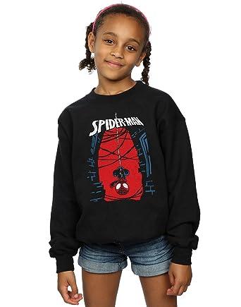 6e30ec05 Marvel Girls Spider-Man Hanging Sketch Sweatshirt: Amazon.co.uk: Clothing