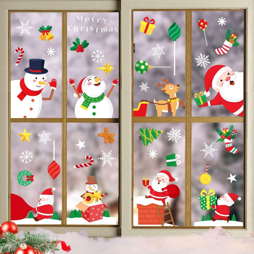 15 hojas de pegatinas de ventana de Navidad, pegatinas de ventana con copos de nieve, Papá Noel, muñeco de nieve, reno de Navidad, decoración de ventanas de Navidad, pegatinas de PVC para ventanas