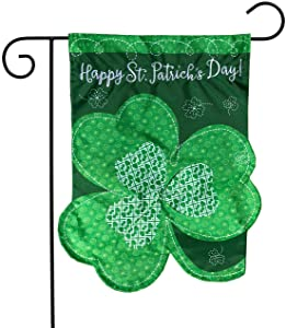 "Briarwood Lane Shamrock St. Patrick's Day Applique Garden Flag Clover Sculpted 12.5"" x 18"""