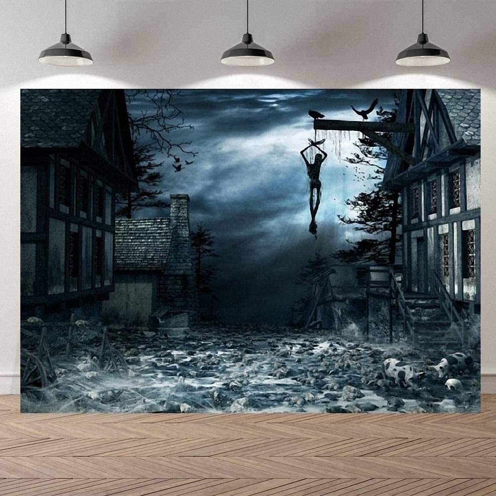 10X6.5ft Halloween Background Banner Scary Vintage Room Halloween Photography Background Cloth Halloween Background Ancient Building Dead Body Festival Photo Backdrop Video Shooting Backdrop