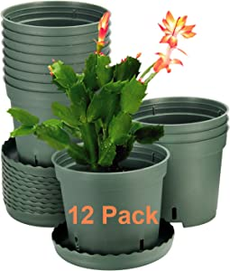 12 Pack Plant Pots, ZOUTOG 6 inch Plastic Pots for Plants with Drainage Hole, Plants not Included