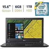 Acer Aspire 3 15.6-inch HD LED-backlit Display Laptop PC, 7th Gen Intel Dual Core i5-7200U 2.5GHz Processor, 6GB DDR4 SDRAM, 1TB HDD, 802.11ac WiFi, HDMI, Webcam, Windows 10 64-Bit