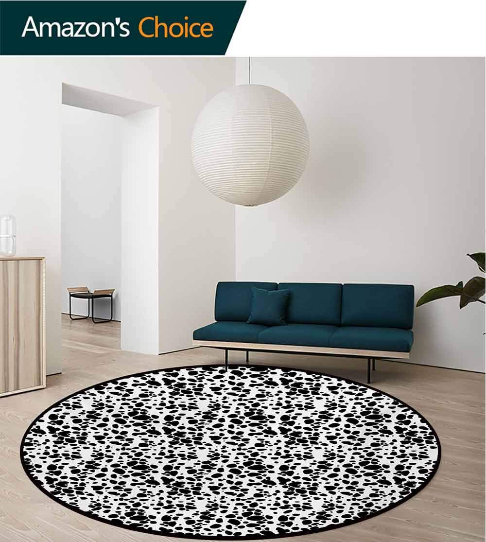 RUGSMAT Dalmatian Dog Print Computer Chair Floor Mat,Black and White Puppy Spots Fur Pattern Fun Spotted Pets Animal Desing Printed Round Carpet for Children Bedroom Play Tent,Round-71 Inch