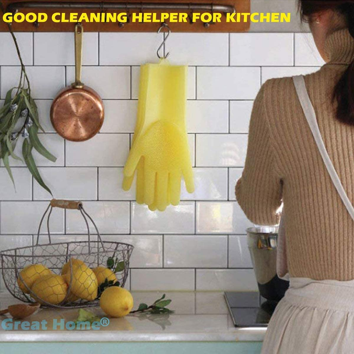 UMyhou Magic Saksak Gants de Silicone r/éutilisables avec Gants r/ésistants /à la Chaleur Gants Outil de Cuisine pour Le Nettoyage