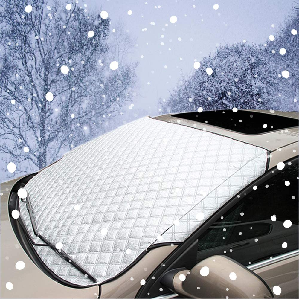 Carllight88 Durable Windshield Cover Snow Protector Car Sun Shade Windscreen Covers Anti-Dust/ Frost Guard Blanket Mat for Ordinary Car Hatchback Sedan Medium 55.9X36.2