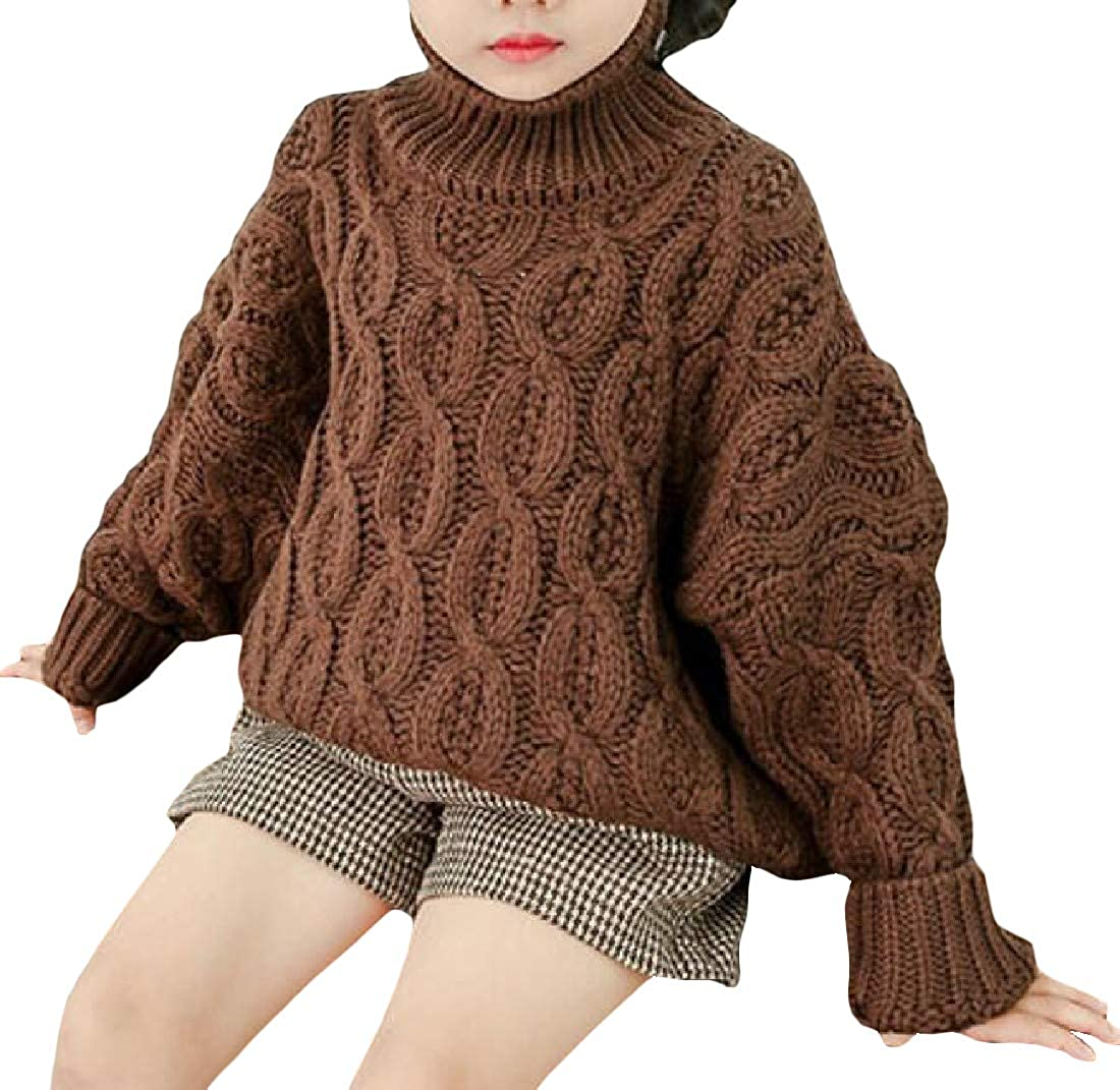 JuJuTa Girls Classic Turtleneck Pullover Cable Knit Winter Jumper Sweaters