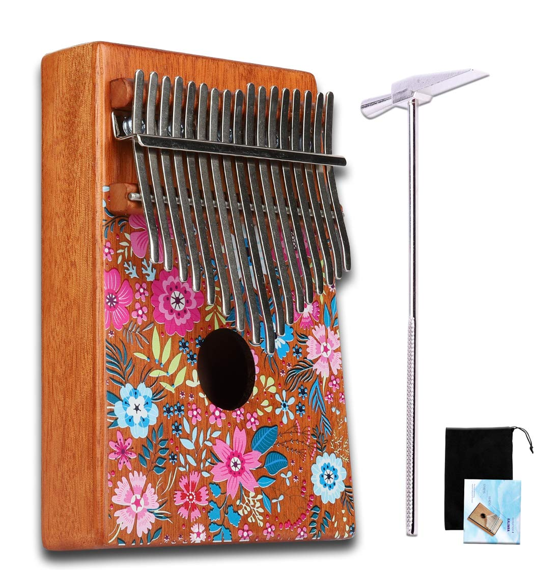Colorful Kalimba 17 Key African Thumb Piano Mahogany Finger Percussion Keyboard Portable Music Instrument (C002, Cherry blossoms)
