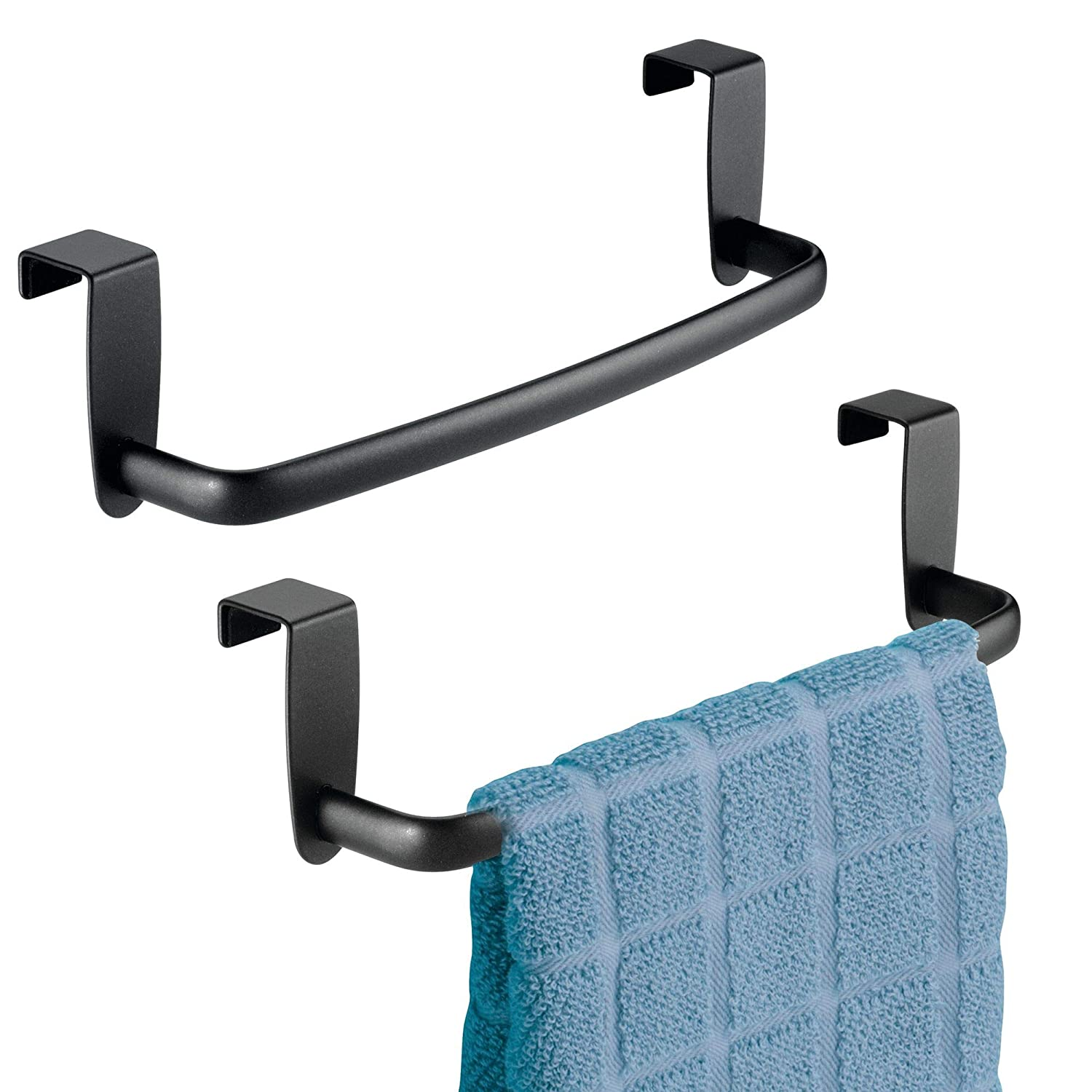 "mDesign Kitchen Over Cabinet Metal Towel Bar - Hang on Inside or Outside of Doors, for Hand, Dish, and Tea Towels - 9.75"" Wide, 2 Pack - Matte Black"