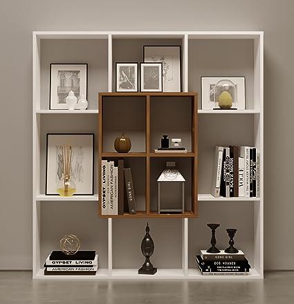HOMIDEA Mars Libreria - Scaffale per Libri - Scaffale per Ufficio/Soggiorno  dal Design Moderno (Bianco/Noce)
