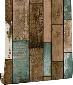 Barn Wood Wallpaper Peel and Stick Vinyl Self-Adhesive Countertops Wood Grain Paper Removable Vintage Plank Brown and Blue 1.48ft x 19.68ft /Roll