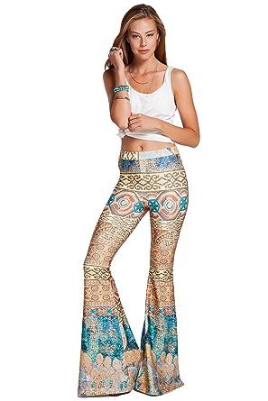 f2964f990807a AZZAVERA Rem High Waist Flare Pants Bell Bottoms Wide Leg Long Palazzo Yoga  Harem Pants,