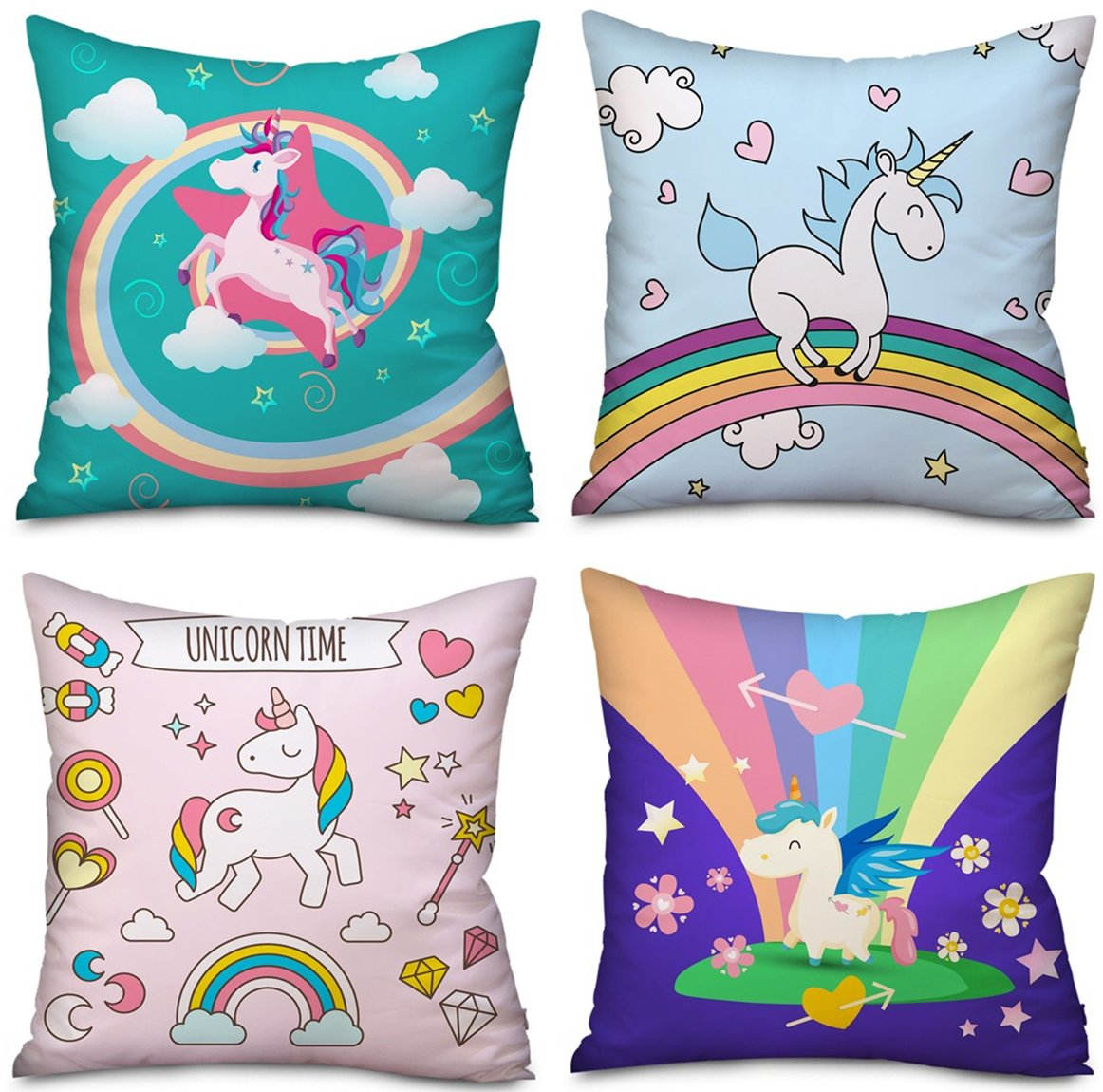 4 Pack Unicorn Pillow case Cushion Covers Home Decor, Unicorn gifts Christmas Thanksgiving Halloween 18 x 18 Inches Two Sides Cute Pillow Cover Case Sofa Decorative (4 Pack Unicorn-A) by Feidiao (Image #1)