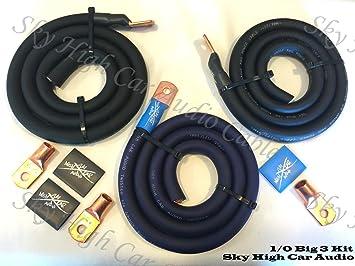 amazon com sky high oversized 1 0 gauge awg big 3 upgrade blue rh amazon com big three wiring kit Big 3 Upgrade Chart