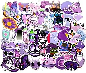 60-Pcs PVC Stickers Vinyl Purple Set Laptop Car Decals Waterproof Sunlight-Proof Durable for Cars Motorbikes Luggage Skateboard Decor