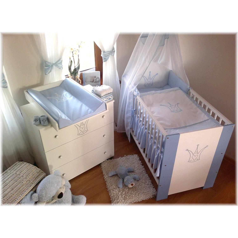 Kinderbett babybett krone blau 120x60, inkl. matraze, bettwäsche ...