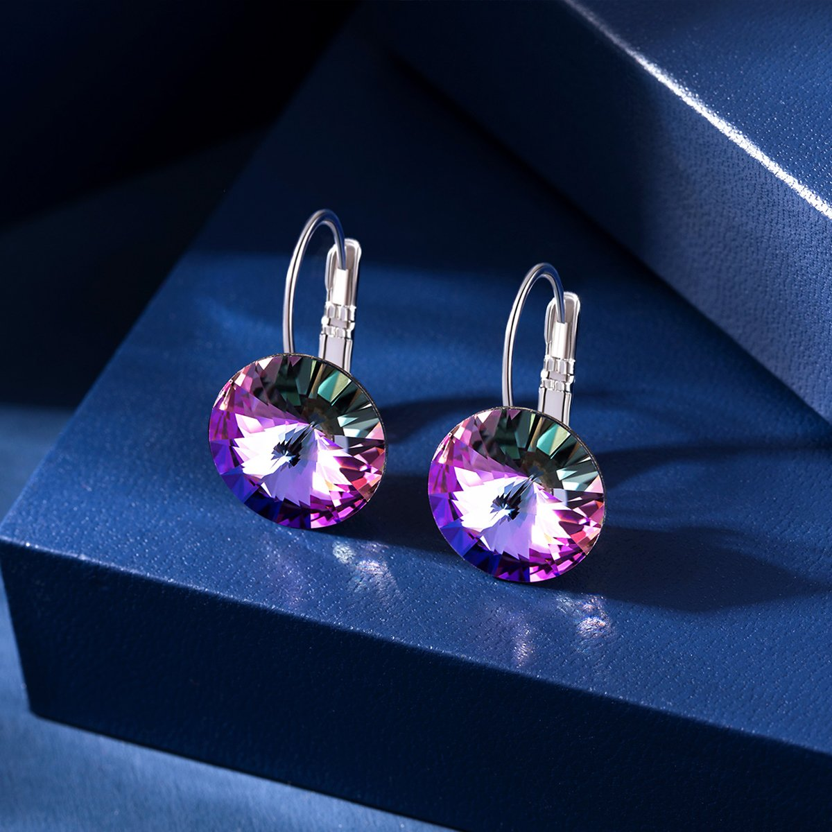 GAEA H Earrings for Women with Swarovski Crystal-Stud Earrings for Women Fashion for Birthday Valentines Day Gifts Fashion Simple Crystal Stud Earrings from Swarovski Daily Wear for Girls GHJE076