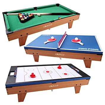 Merveilleux 3 In 1 Multi Game Table Tennis, Air Powered Hokey U0026 Pool Billiard Table  Convertible