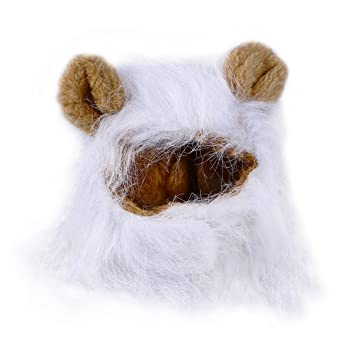 UEETEK Mascota Disfraz León Melena Peluca Leon para Gato Perro Pequeño Ajustable Blanco